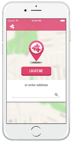 Mobile app showing nearby clinics & pharmacies
